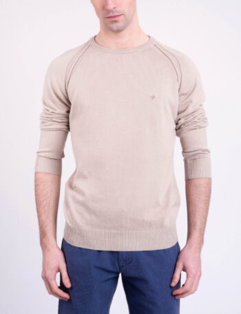 Sweater escote O liso de algodón
