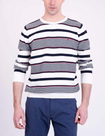 Sweater escote O de algodón con relieve