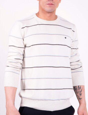 Sweater escote O a rayas de algodón