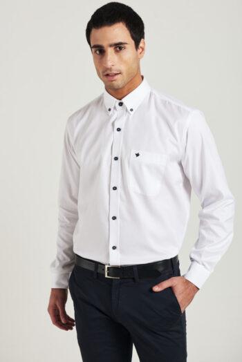 Camisa regular fit mangas largas lisa de algodón texturado