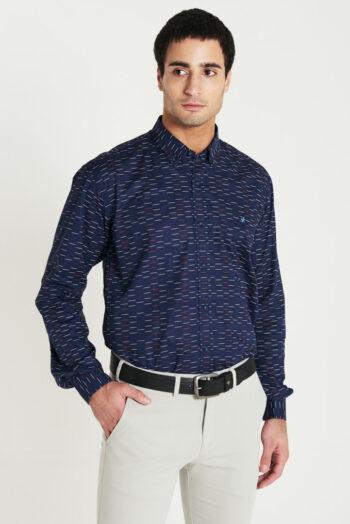 Camisa regular fit mangas largas estampada sin bolsillo de algodón