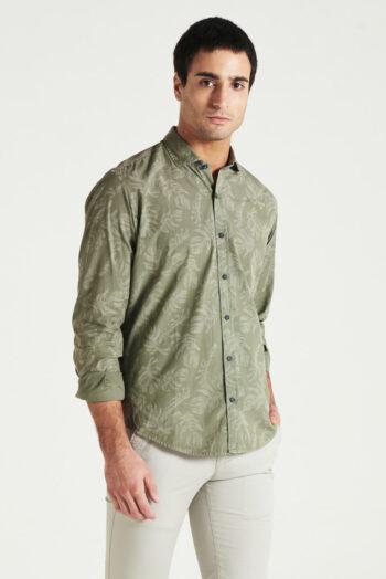 Camisa slim fit mangas largas de poplin teñido
