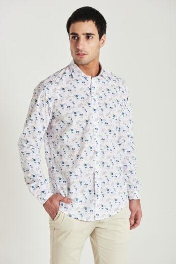 Camisa slim fit mangas largas fantasía de algodón pima peruano