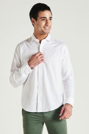 Camisa slim fit mangas largas fantasía sin bolsillo de algodón