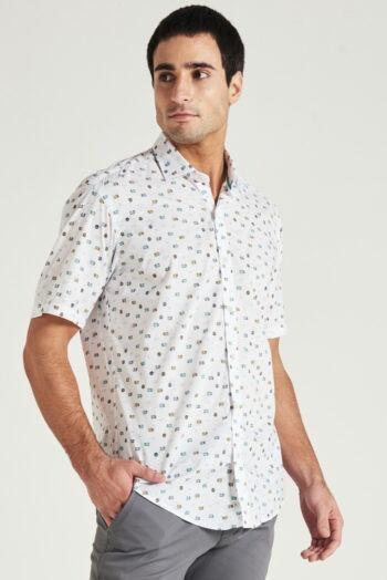 Camisa slim fit mangas cortas estampada de algodón pima peruano