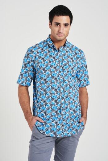 Camisa relaxed fit mangas cortas sin bolsillo de algodón pima