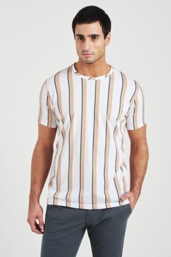 Remera mangas cortas con rayas verticales de jersey